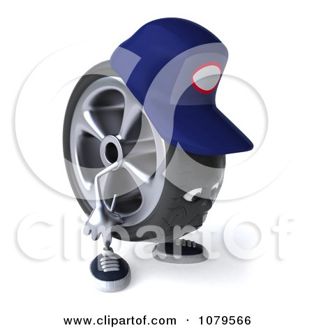 Clipart 3d Sad Tire Mechanic Character- Royalty Free CGI Illustration by Julos
