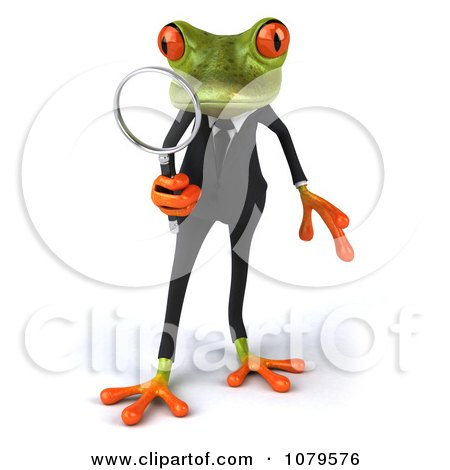 Clipart 3d Business Springer Frog Investigating 1 - Royalty Free CGI Illustration by Julos