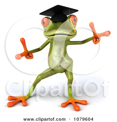 Clipart 3d Graduate Springer Frog Dancing 2 - Royalty Free CGI Illustration by Julos