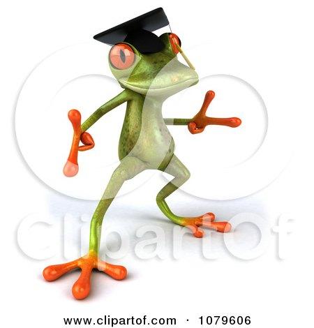 Clipart 3d Graduate Springer Frog Dancing 3 - Royalty Free CGI Illustration by Julos
