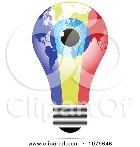 Clipart Blue Eye On A Romanian Light Bulb - Royalty Free Vector Illustration by Andrei Marincas