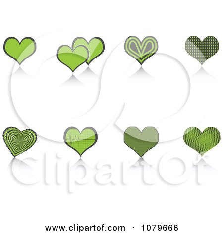 Clipart Green Heart And Reflection Icons - Royalty Free Vector Illustration by Andrei Marincas