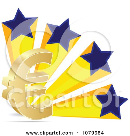 Clipart 3d Euro Symbol And Patriotic Stars - Royalty Free Vector Illustration by Andrei Marincas
