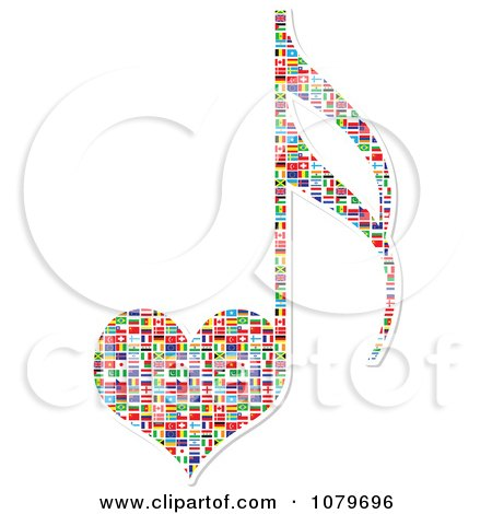 Clipart Heart Shaped Music Note With National Flags - Royalty Free Vector Illustration by Andrei Marincas