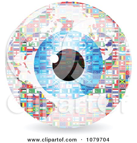 Clipart Blue Eye Over A National Flag Sphere - Royalty Free Vector Illustration by Andrei Marincas