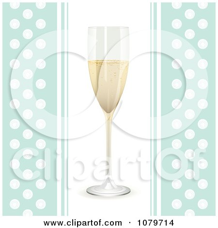 Clipart 3d Champagne Flute On A Blue And White Polka Dot Background - Royalty Free Vector Illustration by elaineitalia