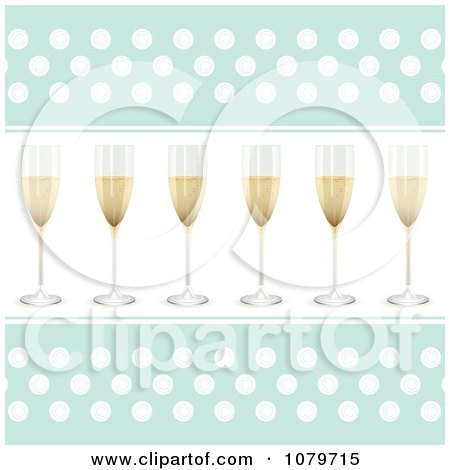 Clipart 3d Champagne Flutes On A Blue And White Polka Dot Background - Royalty Free Vector Illustration by elaineitalia