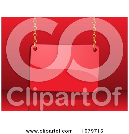 Clipart 3d Shiny Red Sale Sign Card Hanging From Chains - Royalty Free Vector Illustration by elaineitalia