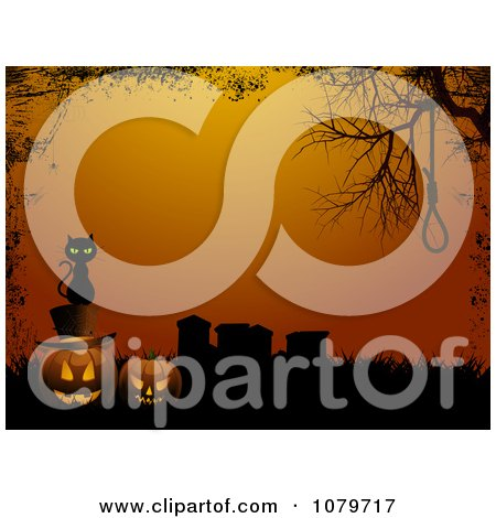 Clipart Black Cat Sitting On Jackolanterns In A Cemetery With A Noose And Grunge Border Over Orange - Royalty Free Vector Illustration by elaineitalia