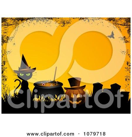 Clipart Black Cat And Witch Cauldron By A Jackolantern In A Cemetery With A Grunge Border Over Yellow - Royalty Free Vector Illustration by elaineitalia