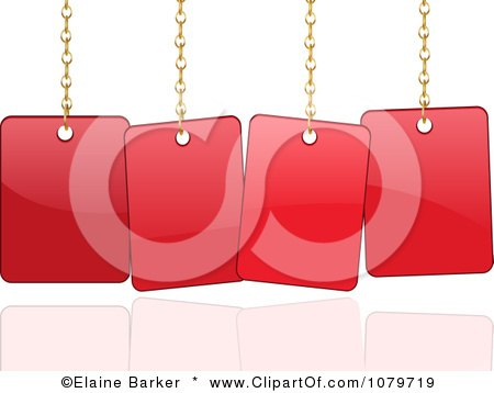 Clipart 3d Shiny Red Sale Sign Cards Hanging From Chains - Royalty Free Vector Illustration by elaineitalia