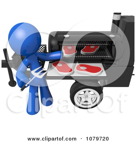 Clipart 3d Blue Man Barbequeing Steaks - Royalty Free CGI Illustration by Leo Blanchette
