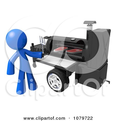 Clipart 3d Blue Man Grilling Steaks On A BBQ - Royalty Free CGI Illustration by Leo Blanchette