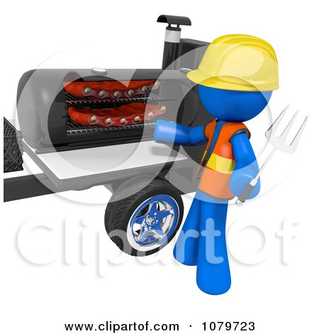 Clipart 3d Blue Man Barbequeing Ribs - Royalty Free CGI Illustration by Leo Blanchette