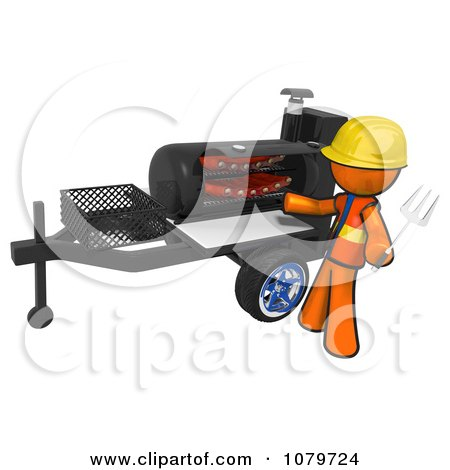 3d Orange Man Grilling Ribs On A Bbq Posters, Art Prints