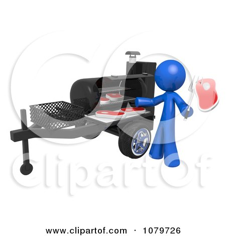 Clipart 3d Blue Man Cooking Steaks On A BBQ Grill - Royalty Free CGI Illustration by Leo Blanchette