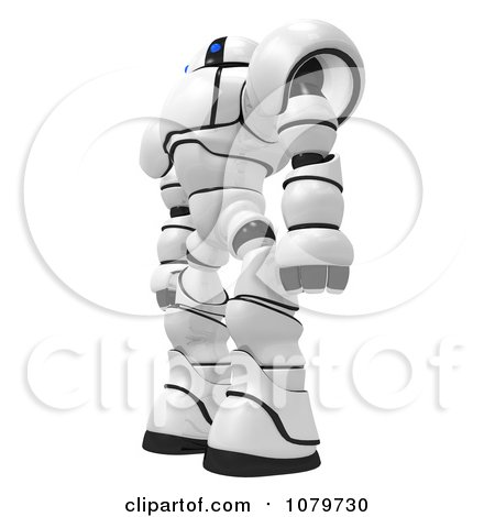 Clipart 3d Security Robot Standing Facing Left - Royalty Free CGI Illustration by Leo Blanchette