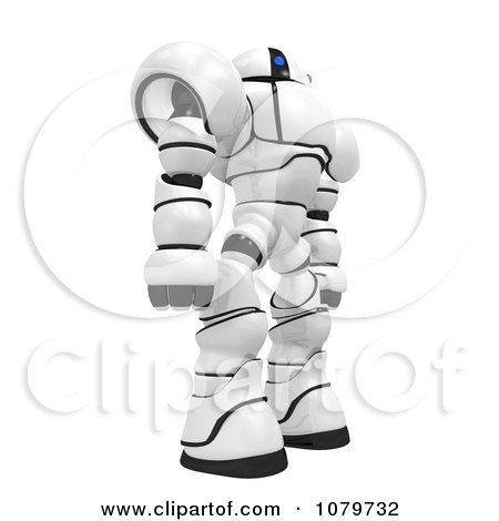 Clipart 3d Security Robot Standing Facing Right - Royalty Free CGI Illustration by Leo Blanchette
