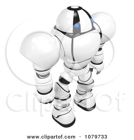 Clipart 3d Security Robot Standing Looking Right - Royalty Free CGI Illustration by Leo Blanchette