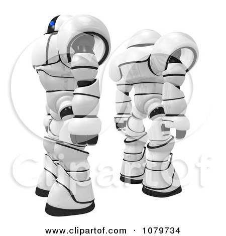 Clipart 3d Security Robots Standing Back To Back- Royalty Free CGI Illustration by Leo Blanchette