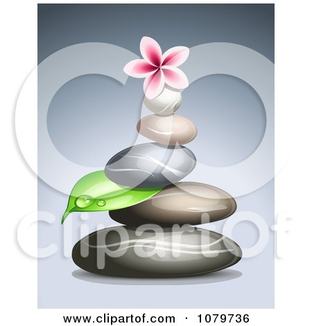 Clipart 3d Frangipani Flower On A Pile Of Spa Stones - Royalty Free Vector Illustration by Oligo