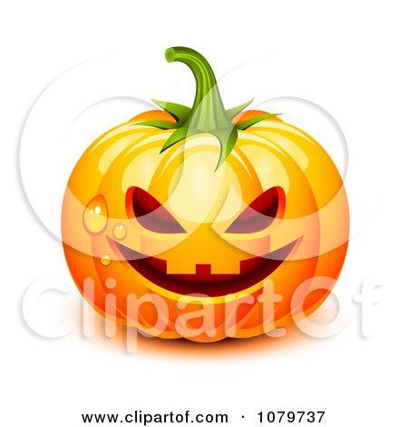 Clipart 3d Dewy Jackolantern Halloween Pumpkin - Royalty Free Vector Illustration by Oligo