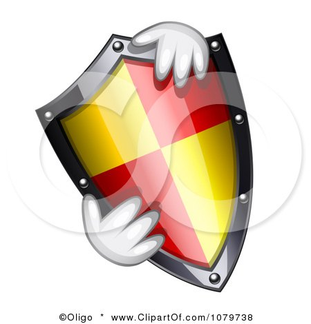 Clipart Hands Holding A 3d Shield - Royalty Free Vector Illustration by Oligo