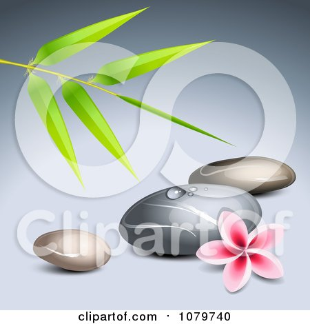 Clipart 3d Frangipani Flower With Bamboo And Spa Stones - Royalty Free Vector Illustration by Oligo