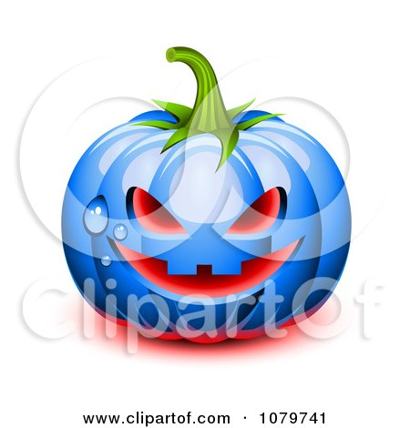 Clipart 3d Blue Dewy Halloween Pumpkin With Glowing Red Light - Royalty Free Vector Illustration by Oligo