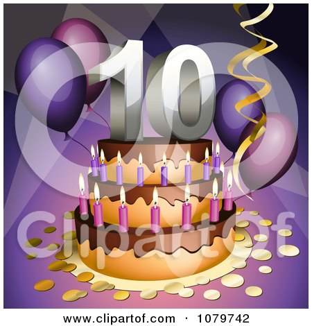 Clipart 3d 10th Birthday Or Anniversary Party Cake - Royalty Free Vector Illustration by Oligo