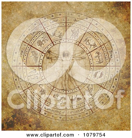 Clipart Vitruvian Man In The Center Of An Aged Zodiac Circle - Royalty Free Illustration by Michael Schmeling