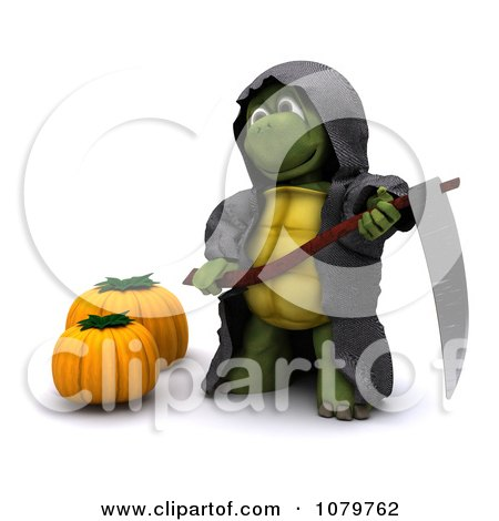 Clipart 3d Halloween Tortoise Grim Reaper With A Scythe And Pumpkins - Royalty Free CGI Illustration by KJ Pargeter