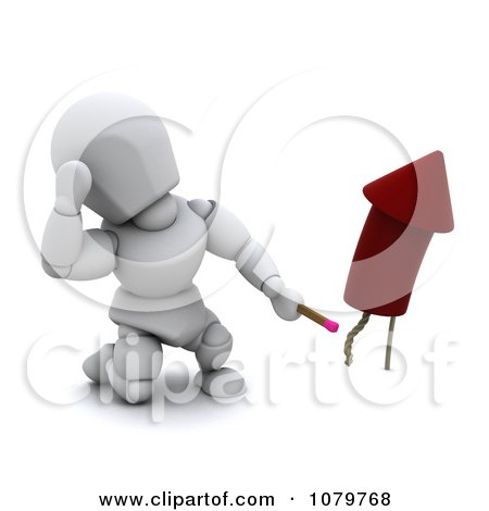 Clipart 3d White Character Lighting A Rocket Firework - Royalty Free CGI Illustration by KJ Pargeter