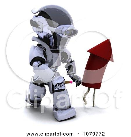 Clipart 3d Robot Lighting A Rocket Firework - Royalty Free CGI Illustration by KJ Pargeter