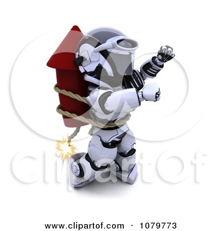 Clipart 3d Robot Strapped To A Rocket Firework - Royalty Free CGI Illustration by KJ Pargeter