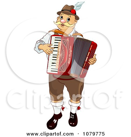 Clipart Oktoberfest Musician Man Playing An Accordian - Royalty Free Vector Illustration by Pushkin