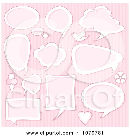 Clipart Pink Speech Bubbles And Icons Over Stripes - Royalty Free Vector Illustration by Pushkin