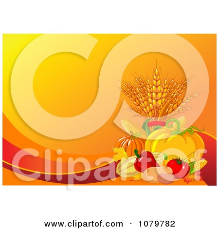 Clipart Autumn Harvest Background With Orange Copyspace - Royalty Free Vector Illustration by Pushkin