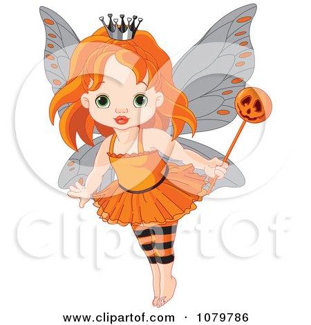 Halloween Fairy Girl With A Pumpkin Wand Posters, Art Prints