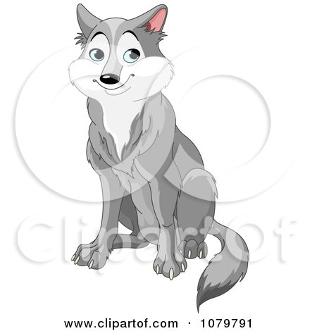 Handsome Gray Wolf Sitting Posters, Art Prints