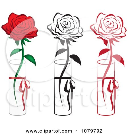 Set Of Red And Black Single Roses In Vases Posters, Art Prints