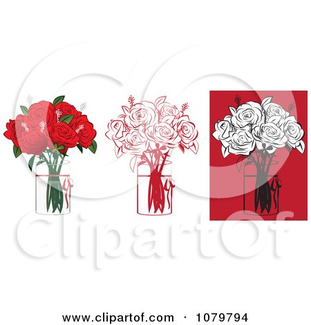 Clipart Sets Of 6 Red And Black Floral Arrangements Of Roses In Vases - Royalty Free Vector Illustration by Vitmary Rodriguez