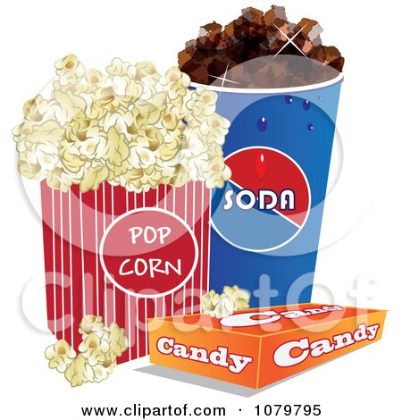 Clipart 3d Fountain Soda Box Of Candy And Movie Popcorn - Royalty Free Vector Illustration by Vitmary Rodriguez