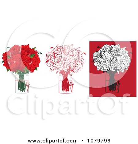 Clipart Sets Of A Dozen Red And Black Floral Arrangements Of Roses In Vases - Royalty Free Vector Illustration by Vitmary Rodriguez