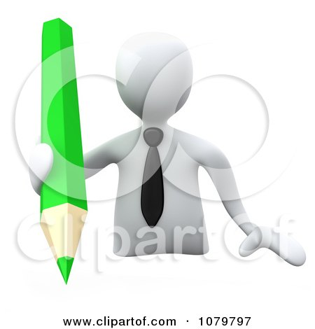 Clipart 3d White Businessman Writing With A Green Pencil - Royalty Free CGI Illustration by 3poD