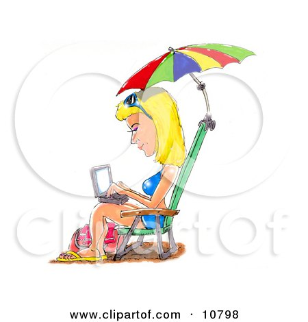 a Blond Woman in a Blue Bikini, Sandals and Sunglasses, Seated in a Beach Chair Under an Umbrella, Typing on a Laptop Computer Posters, Art Prints