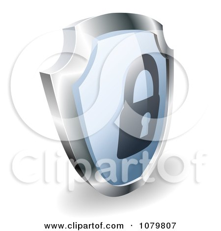 Clipart 3d Blue And Silver Security Padlock Shield - Royalty Free Vector Illustration by AtStockIllustration