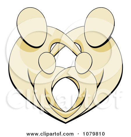 Clipart Beige Parents Protecting Their Children And Forming A Heart - Royalty Free Vector Illustration by AtStockIllustration