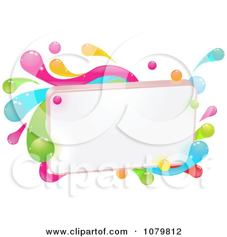 Clipart Blank Sign With Colorful Splashes - Royalty Free Vector Illustration by AtStockIllustration