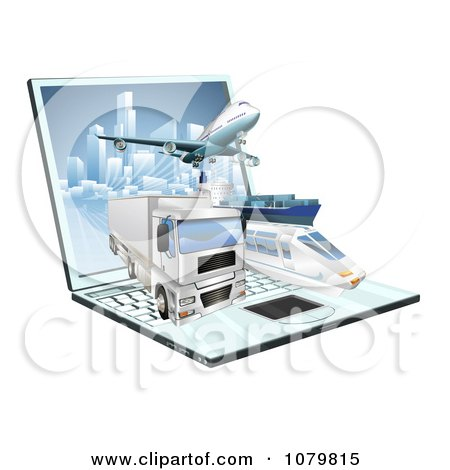 Clipart 3d Logistics Shipping Vehicles Over A Laptop Computer - Royalty Free Vector Illustration by AtStockIllustration